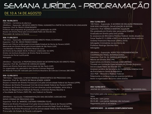 semana-juridica-programação. Uniguaçu